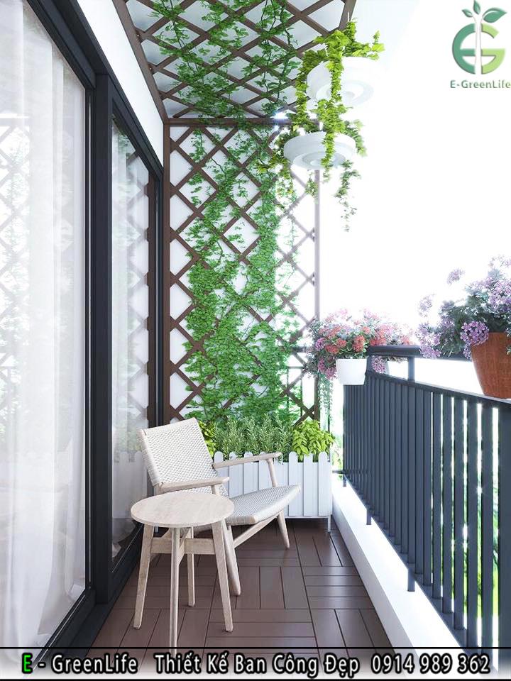 Trang trí tường ban công bằng Giàn Hoa Gỗ Nhựa Loại Đan Chéo