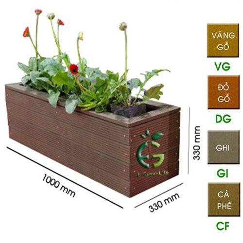 chậu trồng cây được làm từ thanh gỗ nhựa composite