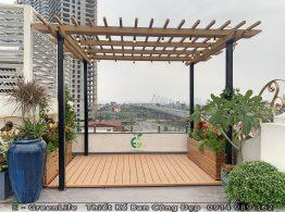 Giàn mái lam gỗ nhựa composite trên sân thượng