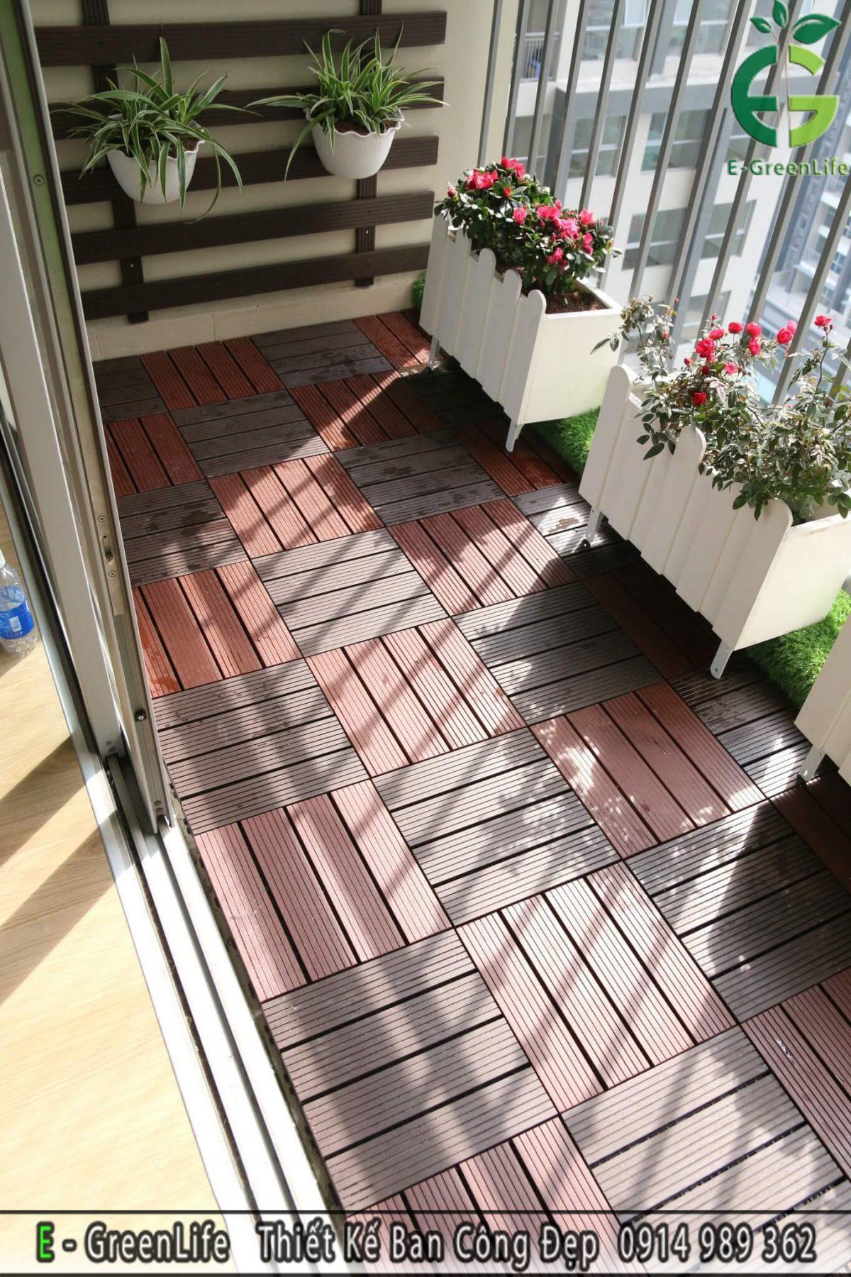 Vỉ sàn gỗ nhựa composite kích thước 30x30 cm Chuyên dùng để lát sàn ban công, logia chung cư